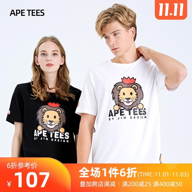 安逸猿ape短袖t恤女2020夏季新款狮子印花纯棉宽松韩版情侣体恤潮