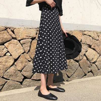 黑色波点半身裙2020年春季新款中长款a字高腰显瘦不规则鱼尾裙子
