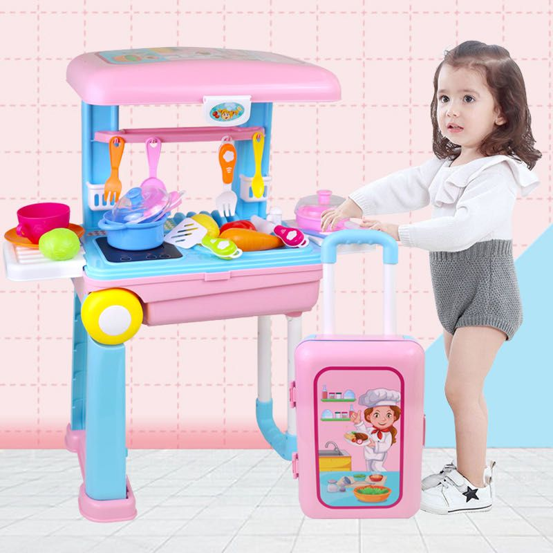 Childrens family kitchen Trolley Case toy travel kitchenware set boys and girls makeup doctors tool suitcase