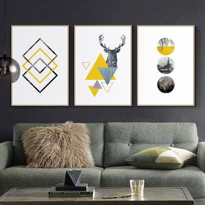 现代简约客厅装饰画沙发背景墙挂画北欧轻奢风格卧室餐厅大气壁画