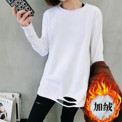 洋气打底衫加绒春秋装冬季白色t恤