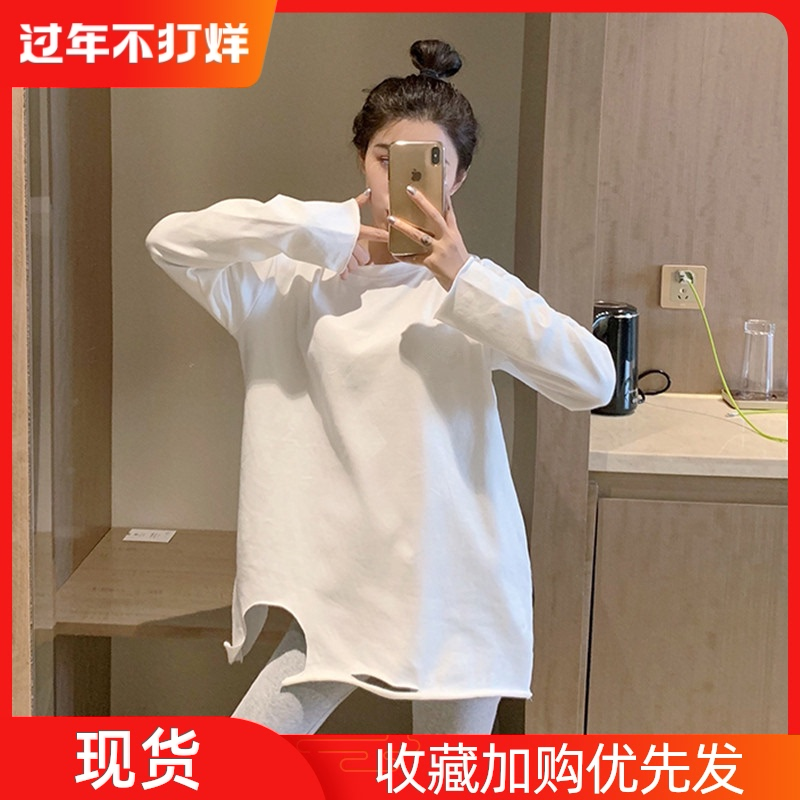 Pure cotton ripped white T-shirt women's long-sleeved mid-length bottoming shirt in autumn and winter foreign style round neck plus velvet top