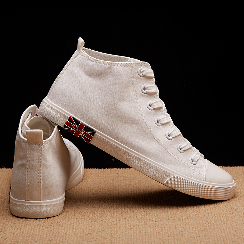 Street shooting canvas shoes student high top small white shoes mens flat bottomed Korean version Zhongbang mens shoes versatile medium top cloth shoes leisure