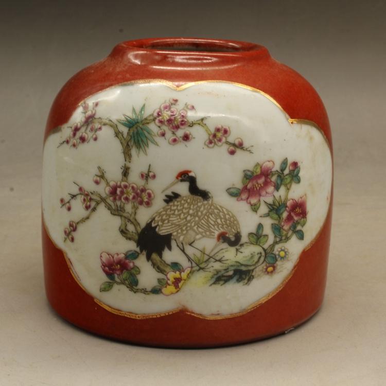 Цин Цяньлун красный Глазурь цвет Птицы и цветы вымыли антикварный антиквариат копия Древняя коллекция фарфора из старых украшений