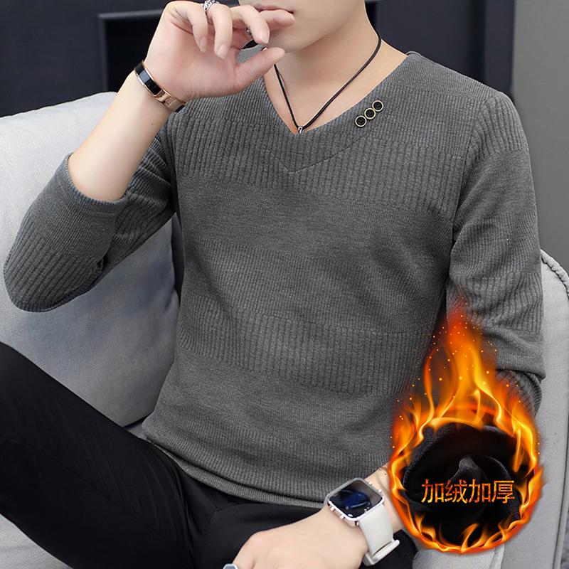 2019新款男士长袖T恤春秋季韩版潮流休闲男装V领针织打底衫毛衣男
