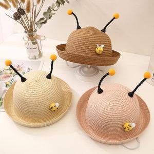 儿童草帽男童遮阳帽宝宝夏天太阳帽可爱超萌款防晒女童沙滩帽子潮