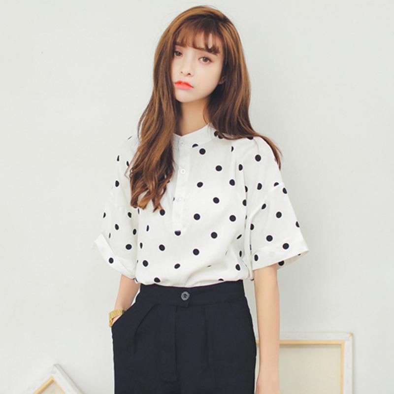 韩版宽松复古黑色波点雪纺衬衫女夏2018夏季新款衬衣韩范短袖上衣
