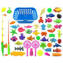 40/50pcs Magnetic Fishing Toy Game Kids 3D Fish Fishing Rod