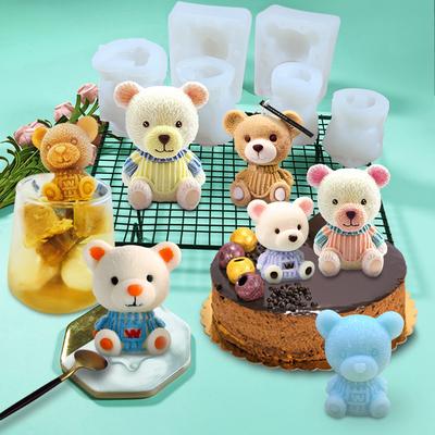 网红小熊冰块硅胶模具抖音冻冰熊咖啡奶茶可乐泰迪爱心制冰球磨具