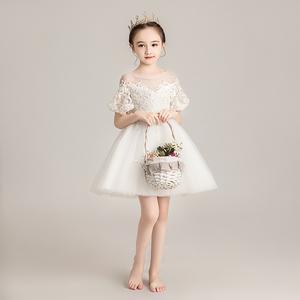 女童白纱公主裙花童婚纱裙蓬蓬纱儿童洋气晚礼服小女孩钢琴演出服