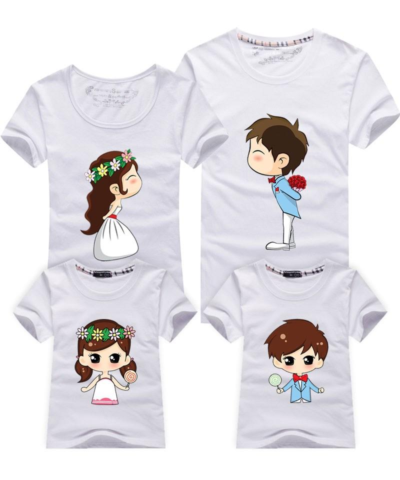 亲子装夏装2018款亲情一家三口母女子全家装情子韩版大码短袖T恤