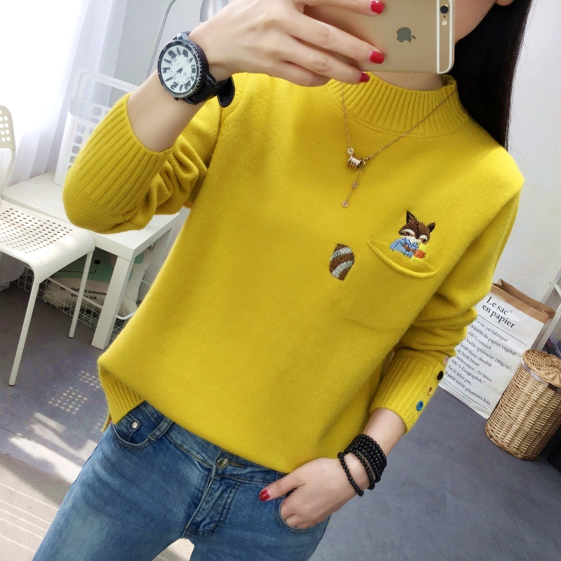 Knitwear womens long sleeve spring and autumn new style loose top pocket squirrel Embroidery Flower Fashion solid color sweater