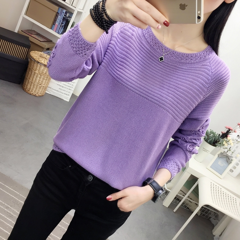 T-shirt womens loose and lazy spring sweater Korean new round neck long sleeve solid color with bright silk bubble beads top