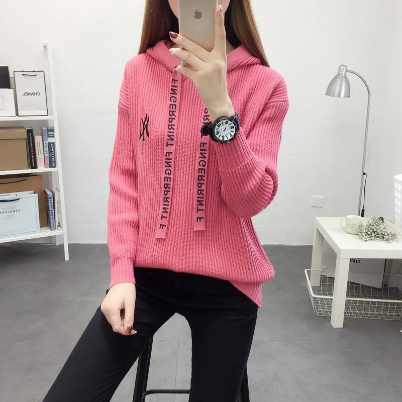 Womens T-shirt loose outside wear Pullover spring new long sleeve embroidery solid color hooded tie top sweater sweater