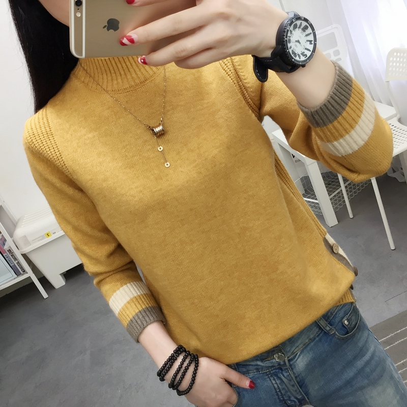 Sweater womens new fashion wear loose foreign style regular spring and autumn half high crew neck pure color button T-shirt
