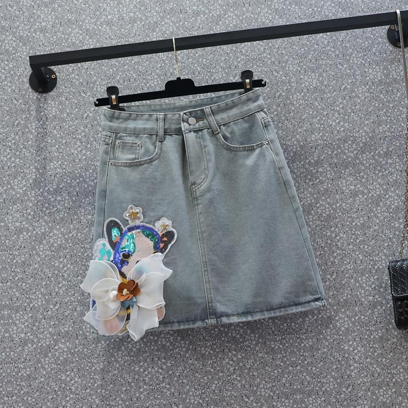 大碼胖妹妹牛仔半身裙女夏季2021新款高腰設計感顯瘦a字包臀裙子