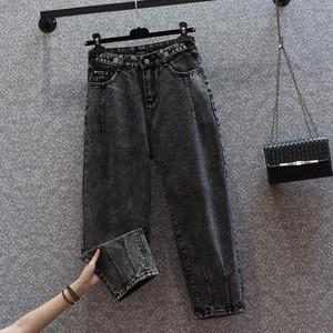 大碼煙灰色牛仔褲女2021秋季新款哈倫寬松黑色高腰顯瘦褲子潮ins