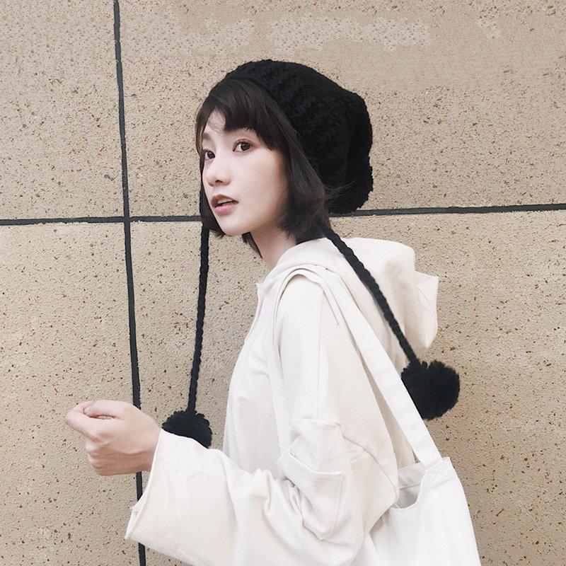 日系软妹百搭毛线帽韩版女chic护耳雷锋帽针织秋冬保暖毛球帽子潮
