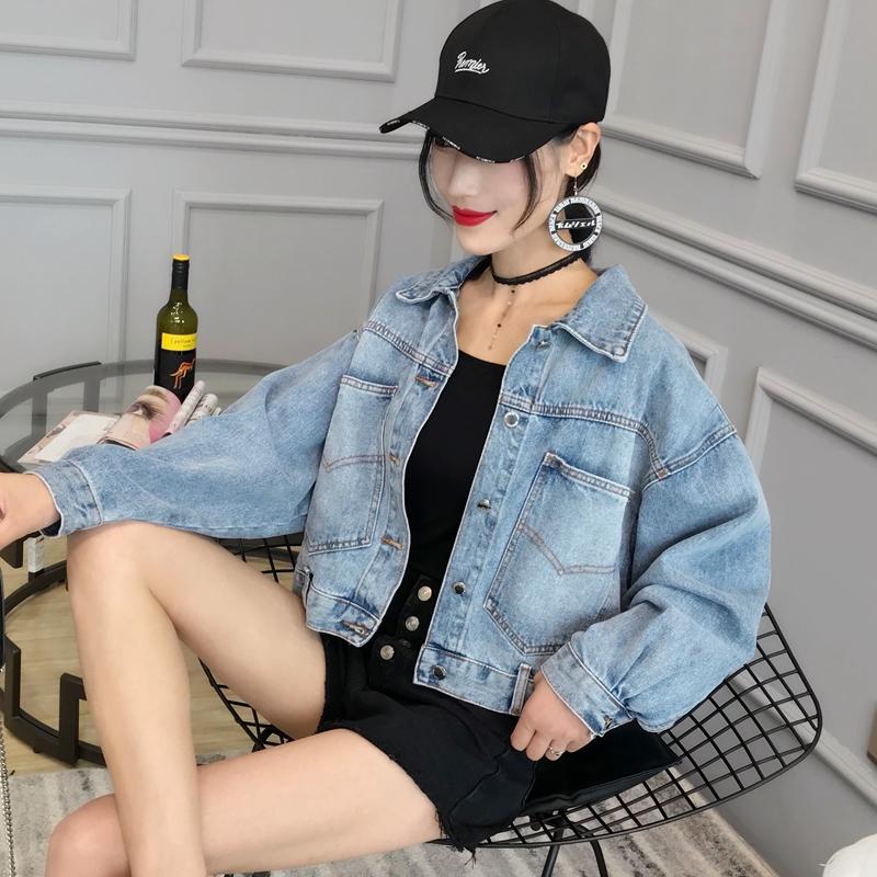 美丽阁2018秋季新款女装牛仔外套韩版宽松bf风学生短款长袖上衣