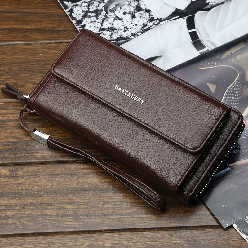 2021 new hand bag mens soft leather atmosphere fashion zipper Long Wallet mens business leisure youth hand bag
