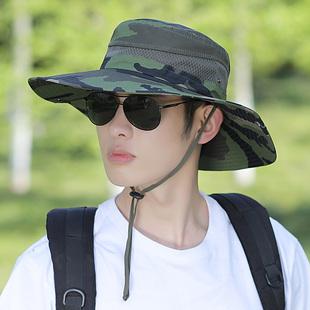 骑车旅游 帽子迷彩大檐遮阳帽户外登山防晒太阳帽男士 渔夫帽男夏季