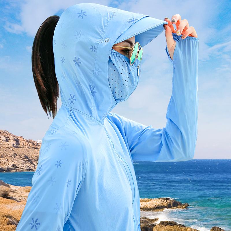 日焼け止めの服の女性2020新型の夏の中で長いタイプの連続帽子には、紫外線の薄い日焼け止めカバーの女性コートがたくさんあります。