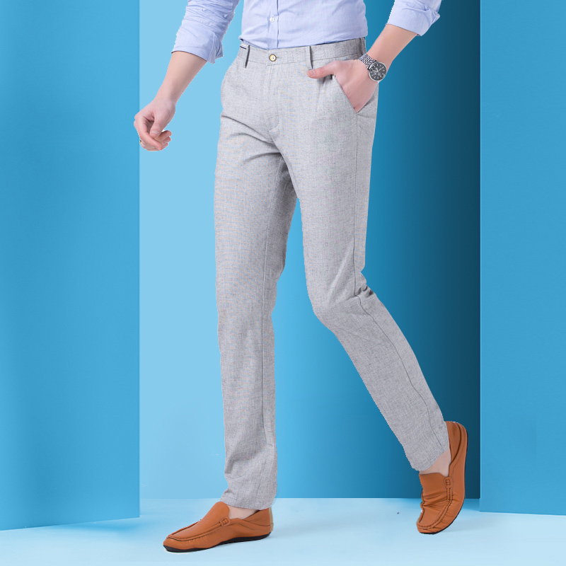 男薄裤新款冰丝亚麻直筒男长裤夏季韩版修身青年商务休闲中高腰裤
