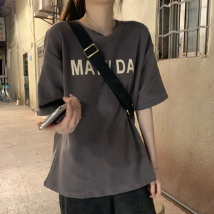 chic春夏季短袖t恤女装小众设计感短款2021年新款宽松上衣服潮ins