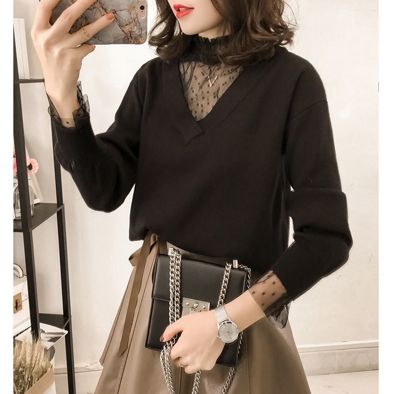Autumn and winter T-Shirt Large womens clothes fat mm2019 new loose and thin cover belly foreign style yarn mesh fake two sweaters
