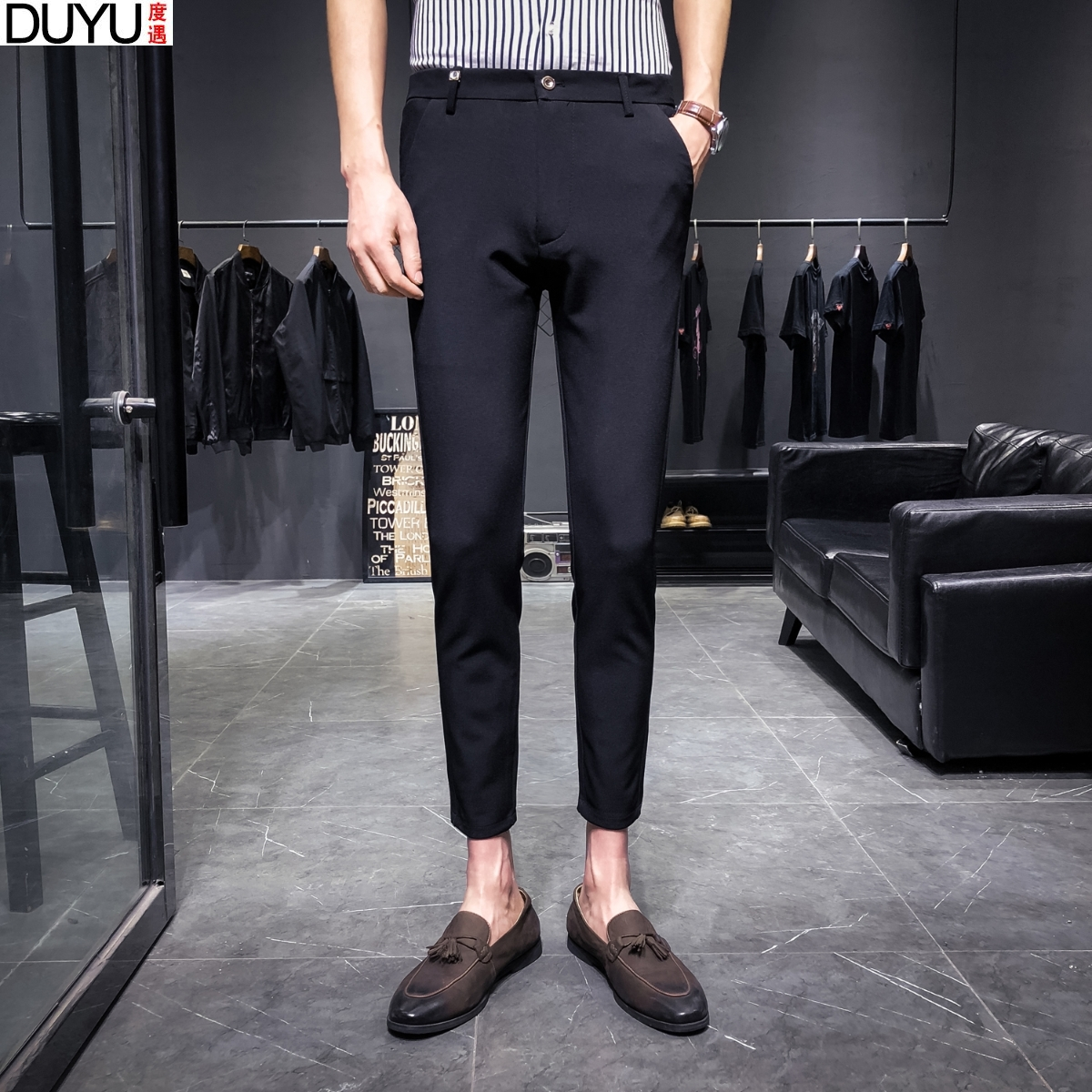 配皮鞋的西路便裤修身jiu9九分搭配休闲西装的裤子男商务休身夏