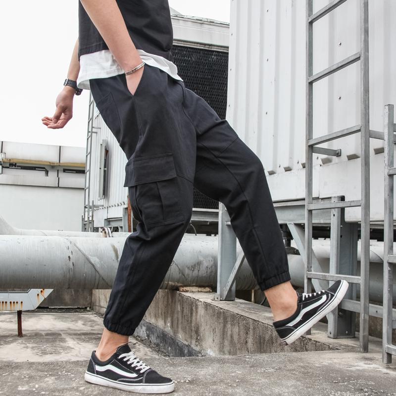 大量现货2019夏九分裤新款简约质感休闲裤束脚工装裤运动裤P48