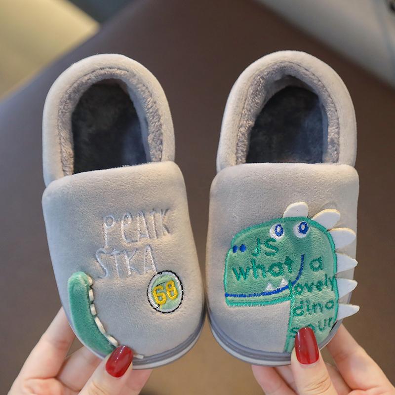 冬儿童棉拖鞋男童包跟幼儿秋冬室内保暖女宝宝拖鞋小童毛毛家居鞋
