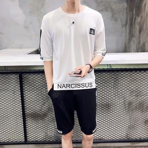 夏季休闲T恤套装男韩版潮流两件套学生运动一套夏季T恤圆领衣服男