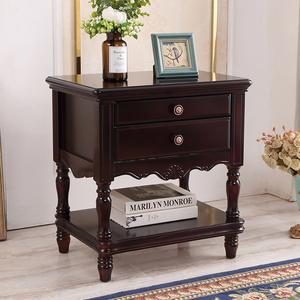美式实木床头柜免安装卧室创意轻奢胡桃色复古加高床边收纳储物柜