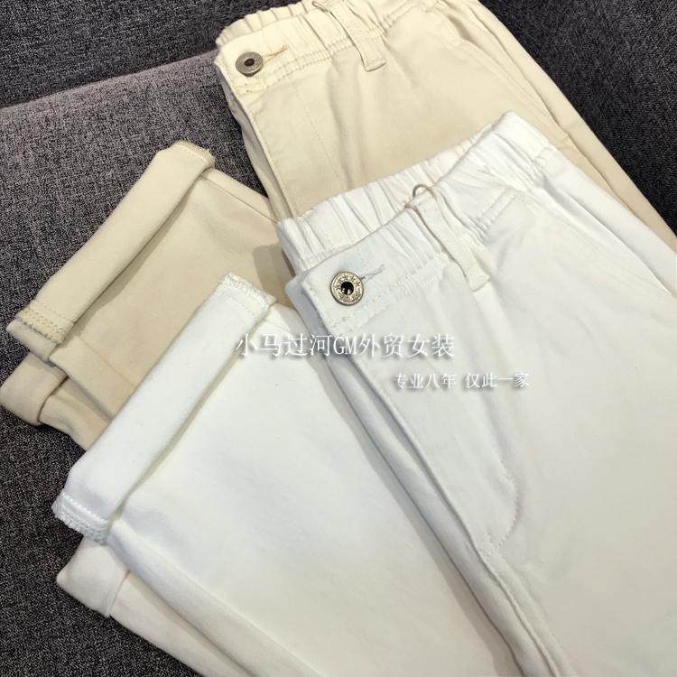 實口碑!白色錐形褲升級推薦!高密牛仔褲松緊腰寬松顯瘦秋季新品