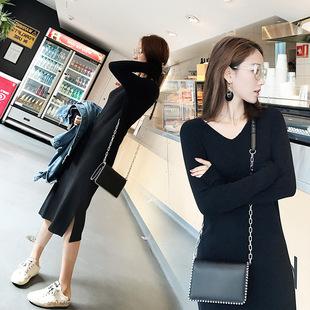 显瘦小黑裙开叉打底毛衣裙子 秋季 黑色针织连衣裙中长款 女气质修身