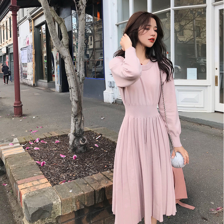 秋冬针织连衣裙女2019新款网红中长款打底修身气质显瘦毛衣裙过膝