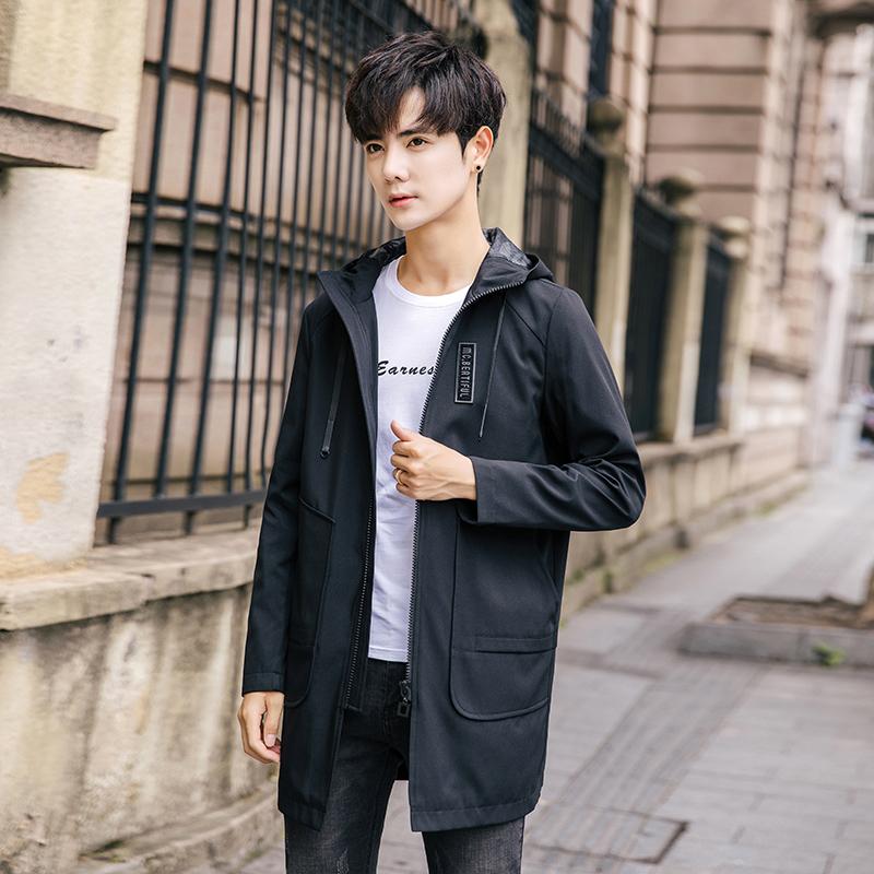 谷步秋季男士夹克外套韩版修身中长款男式外套大码连帽长袖风衣