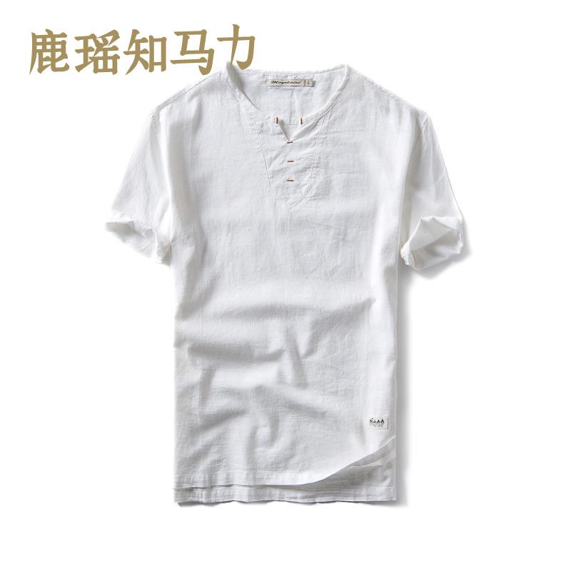 鹿瑶青年棉麻短袖男士休闲T恤中国复古风男士亚麻短袖夏装上衣