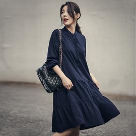 2020春季新款韩版宽松女装气质显瘦遮肚子大码黑色长袖雪纺连衣裙图片