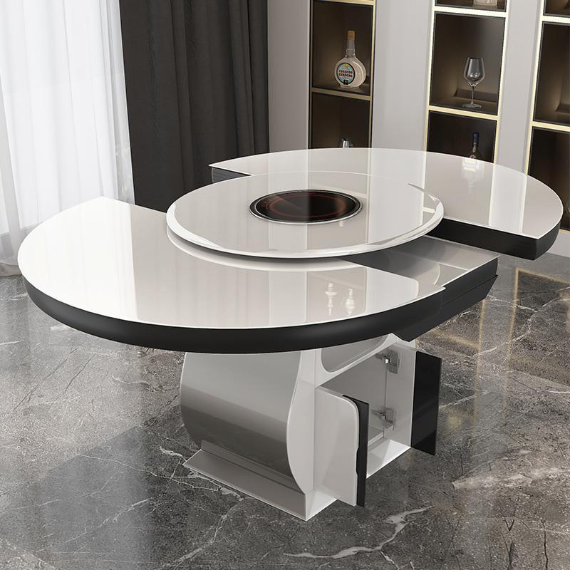 创意餐桌椅组合转盘可伸缩折叠多功能带电磁炉现代简约吃饭圆餐桌
