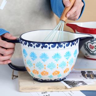华孚手绘大容量和面盆烘焙餐具家用沙拉带把手柄搅拌碗陶瓷料理碗品牌