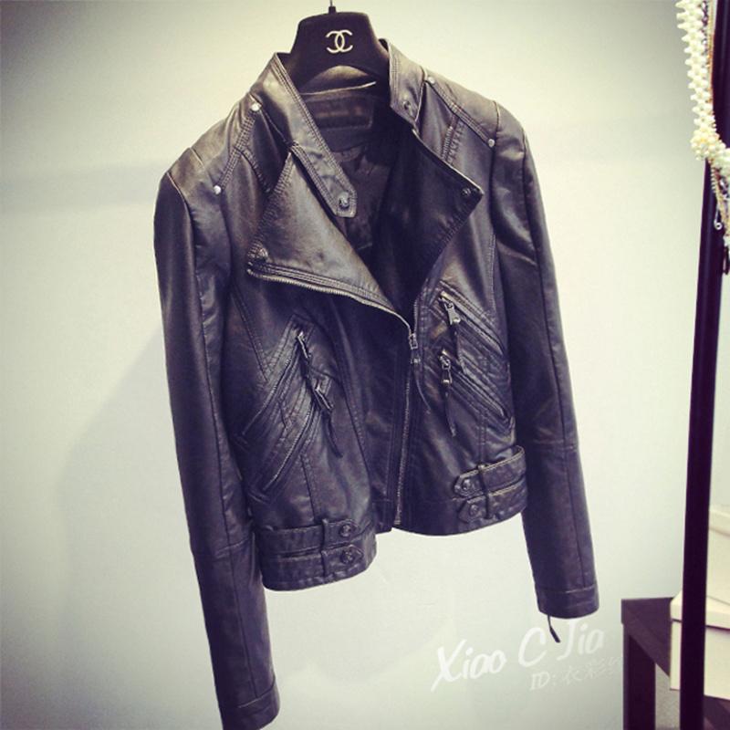 2021春秋季新款皮衣外套女短款韩版修身百搭立领黑色机车皮夹克潮