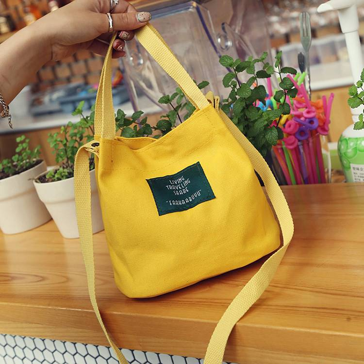 New style canvas mini one shoulder messenger bag women bag bag youth leisure student simple handbag color small handbag