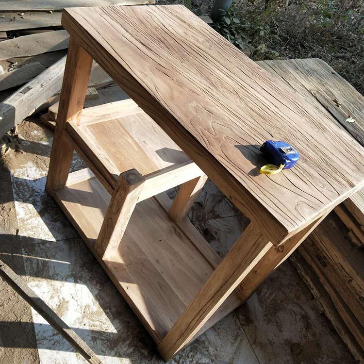 老榆木茶桌家用小茶台老榆木门板边几实木简约茶水柜沙发边几