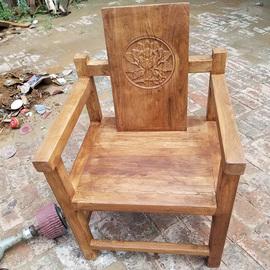 老榆木实木扶手椅餐桌椅茶桌主椅办工椅原木免漆现代新中式主人椅