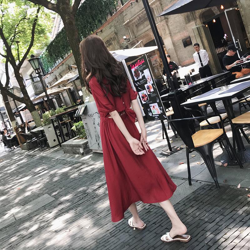 实拍现货雪纺小红裙抗皱不掉色A166A-8027-P70