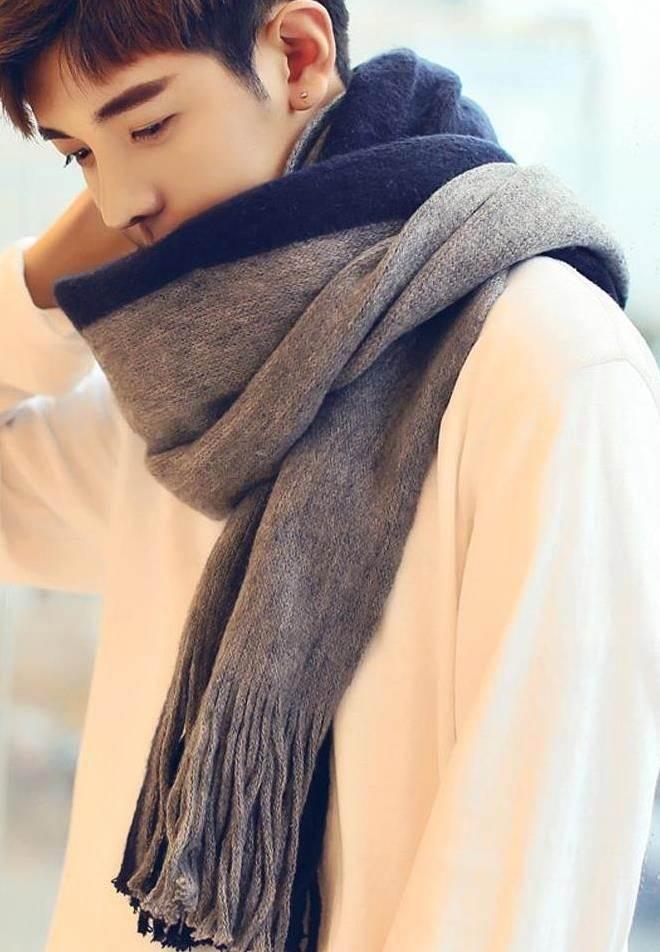 羽绒服纯羊绒气质大学生男式围巾男生日礼物西装帽子三角形大衣