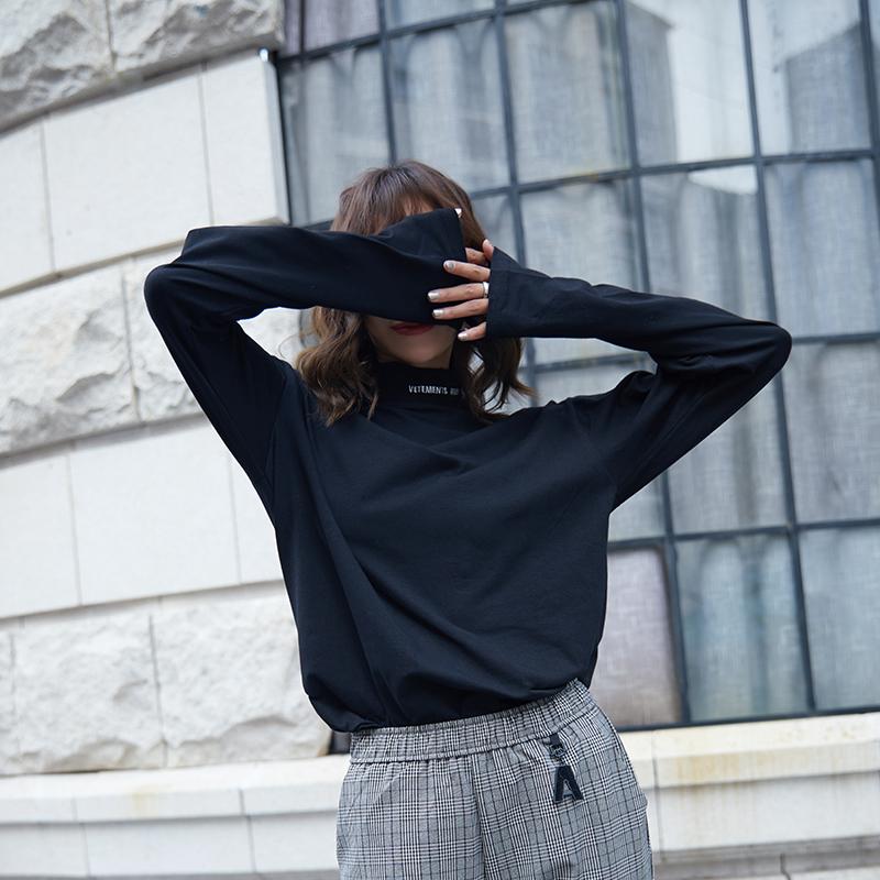 纯棉秋天上衣女潮长袖t恤2018新款韩版秋装宽松百搭半高领打底衫