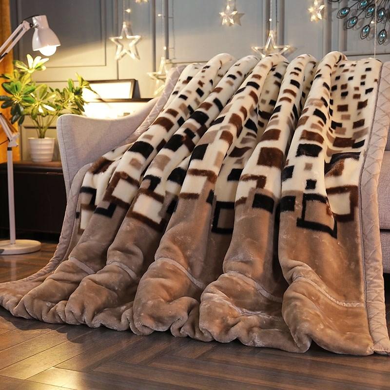 2017冬双层双人拉舍子被子小盖毯尔毛毯法兰绒加厚保暖单人珊瑚绒